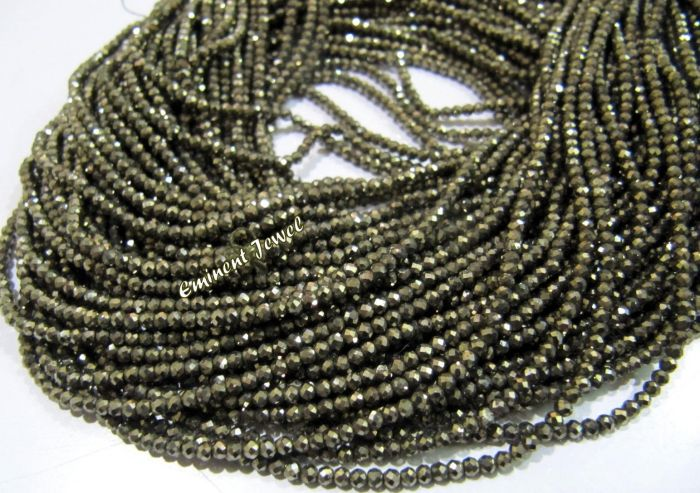 13 Strand Natural Pyrite Faceted Round 2mm.