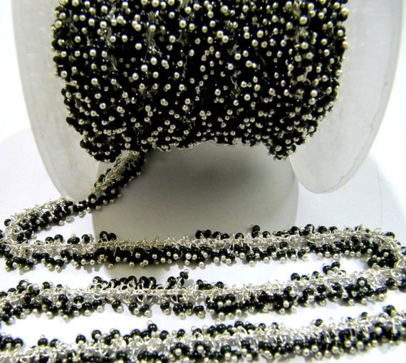 Black Hydro Gemstone Black Plated Beaded Rosary Wire Linked Jewelry Making Chain