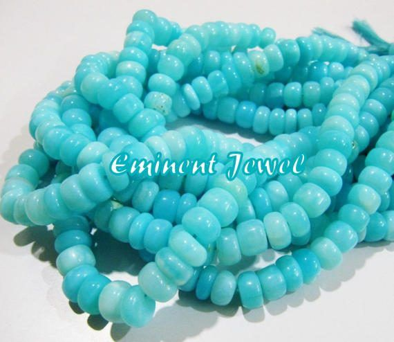8 Inch Strand,Peruvian Blue Opal Smooth Rondelles Shape Beads,9-10mm size Apprx