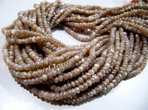 3.50-4mm Beautiful Moonstone Peach Colour Coated-Faceted Rondelle Beads-Natural Gemstone-16Strand..b417
