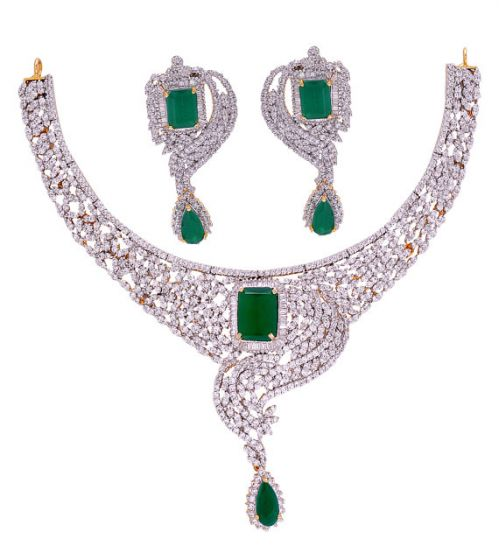 Exclusive American Diamond Necklace With Ruby Emerald Cz