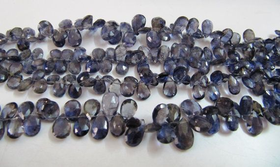 Natural Iolite Cutting Box Gemstone Beads AAA Quality Natural Iolite Cutting Box  Beads Iolite Briolette Beads 5 to 8 mm-- 8 inch App