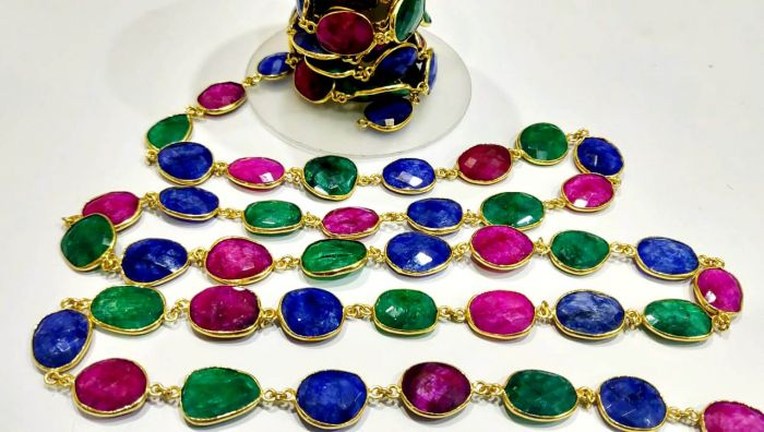 1Foot Ruby Emerald Sapphire Briolette Connector Chain 12-15mm Gold Plated Chain