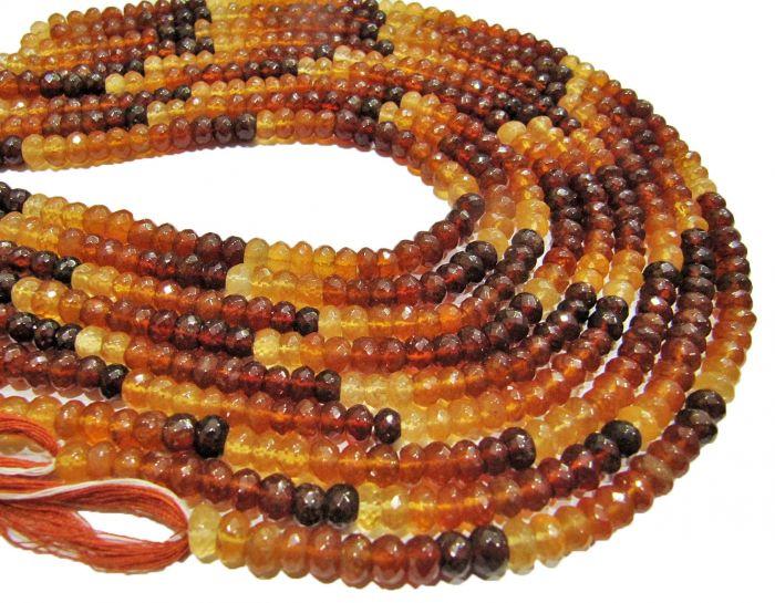Hessonite Rondelle Beads Hessonite Garnet Beads Hessonite Beads 6.5-7mm Hessonite Faceted Beads Best Quality Natural Hessonite Beads