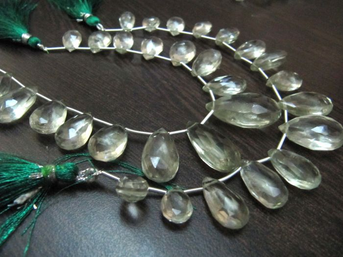 12 Strand,Natural GREEN AMETHYST Concave Cut Pear Shape Briolettes Brand New Finest Item 12-13mm