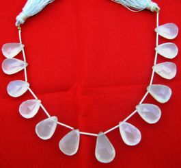 PERU AQUA BLUE Chalcedony Elongated Drops Briolettes,Amazing Item at Low Price Brand New 10 Matched Pairs,15mm Long