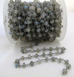 SE58 100/% Top Quality 10 Feet Rosary Beads Chain Blue Fire Labradorite 3-4 mm,Rondelle /& Faceted Black Plating
