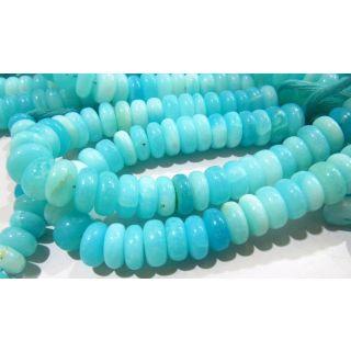 Natural Blue Peruvian Opal Rondelle Plain Beads 12-14mm Strand 8inch Long Beads