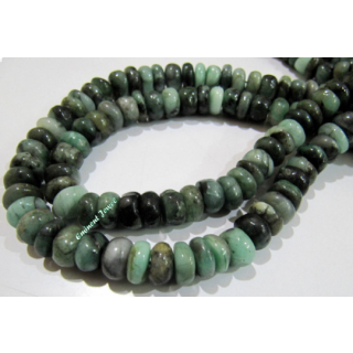 Natural Untreated Emerald Rondelle Faceted Shaded Color Beads Strand 8 Inch .